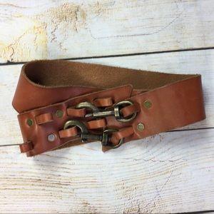 LP Linea Pelle genuine leather buckle clip belt L